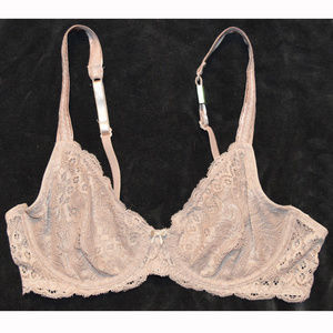 Candie's Unlined Sheer Lace Underwire Plunge Bra